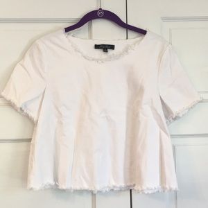 White, stretchy denim crop top size S